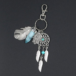 Opal Stone Dreamcatcher Keyring Boho for Bag Purse